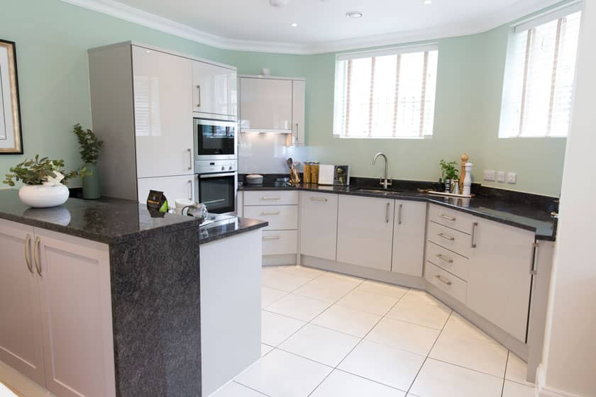Example show apartment kitchen at New Court.