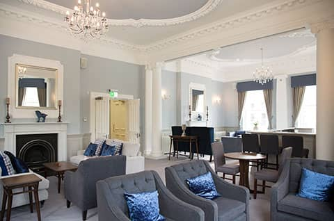 The sumptuous owners lounge at New Court Cheltenham