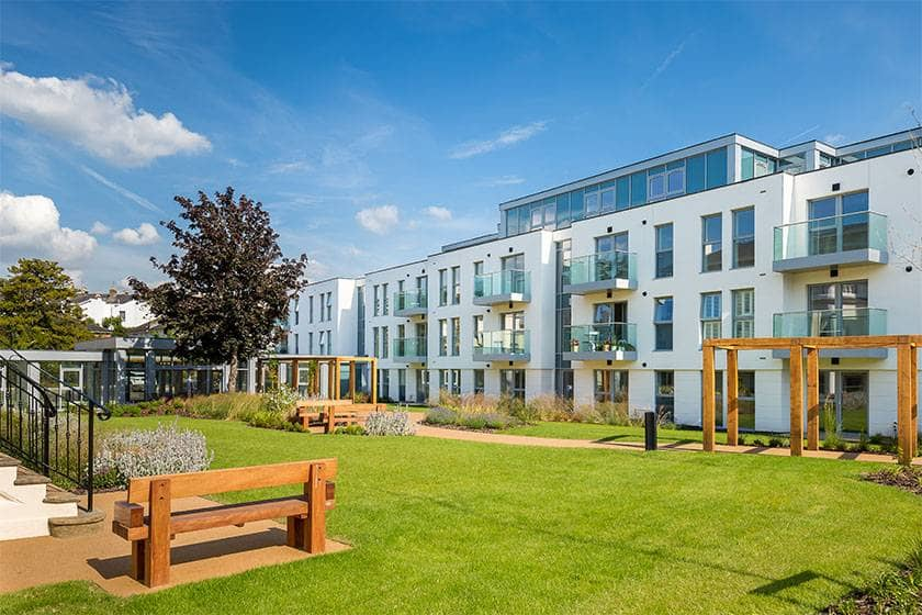 The beautiful gardens at the luxury New Court development.