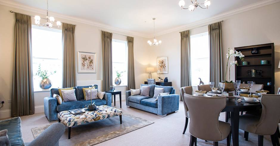 The living area in the show apartment at New Court, Cheltenham