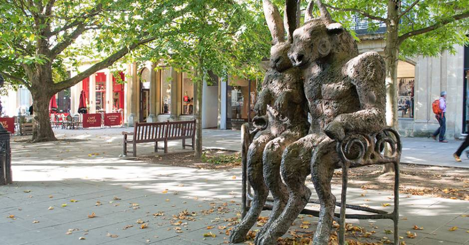 Rabbit bench sculpture in Cheltenham